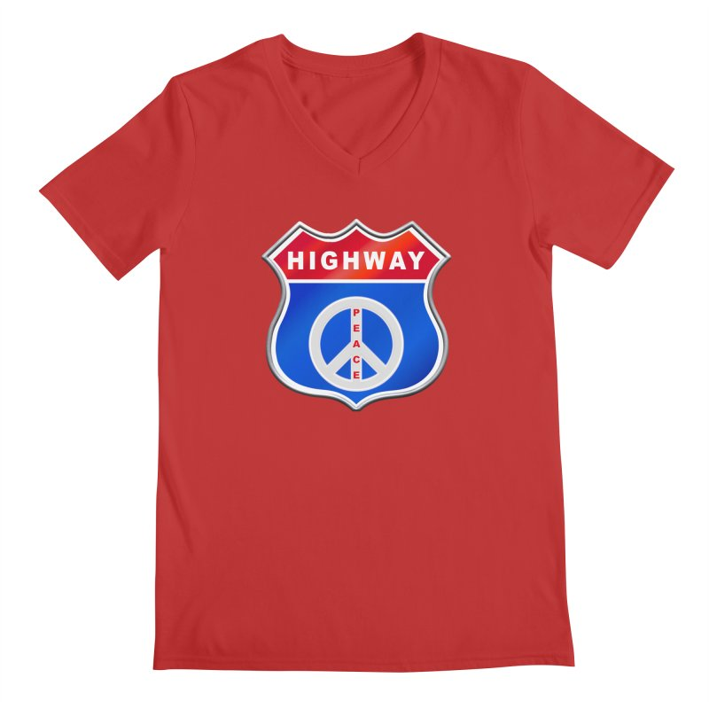 Highway To Peace Shirts Hoodies Buttons n More Men's Regular V-Neck by Leading Artist Shop