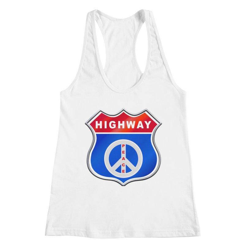 Highway To Peace Shirts Hoodies Buttons n More Women's Racerback Tank by Leading Artist Shop