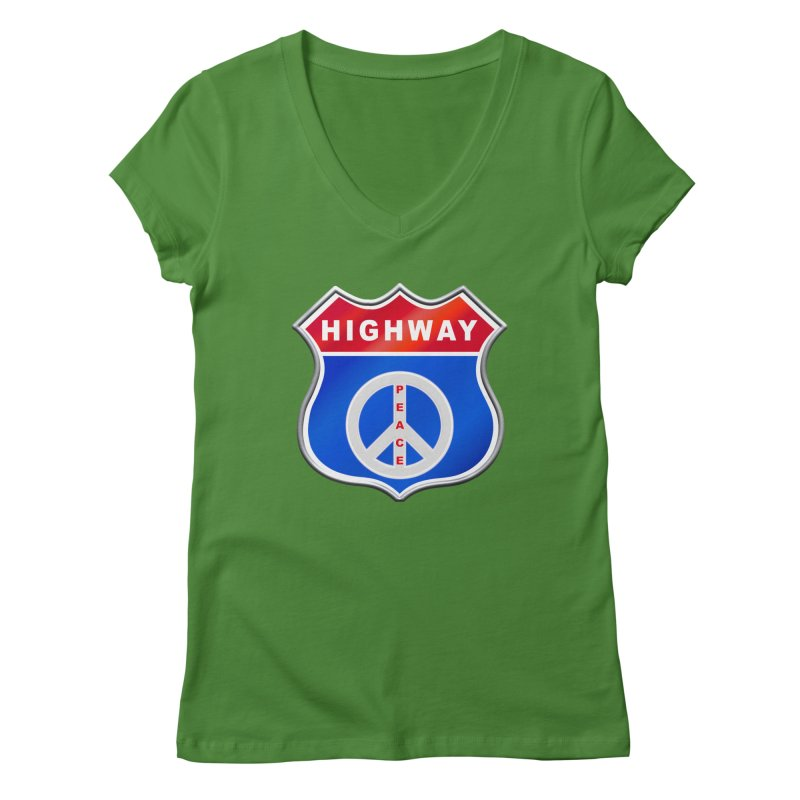 Highway To Peace Shirts Hoodies Buttons n More Women's Regular V-Neck by Leading Artist Shop