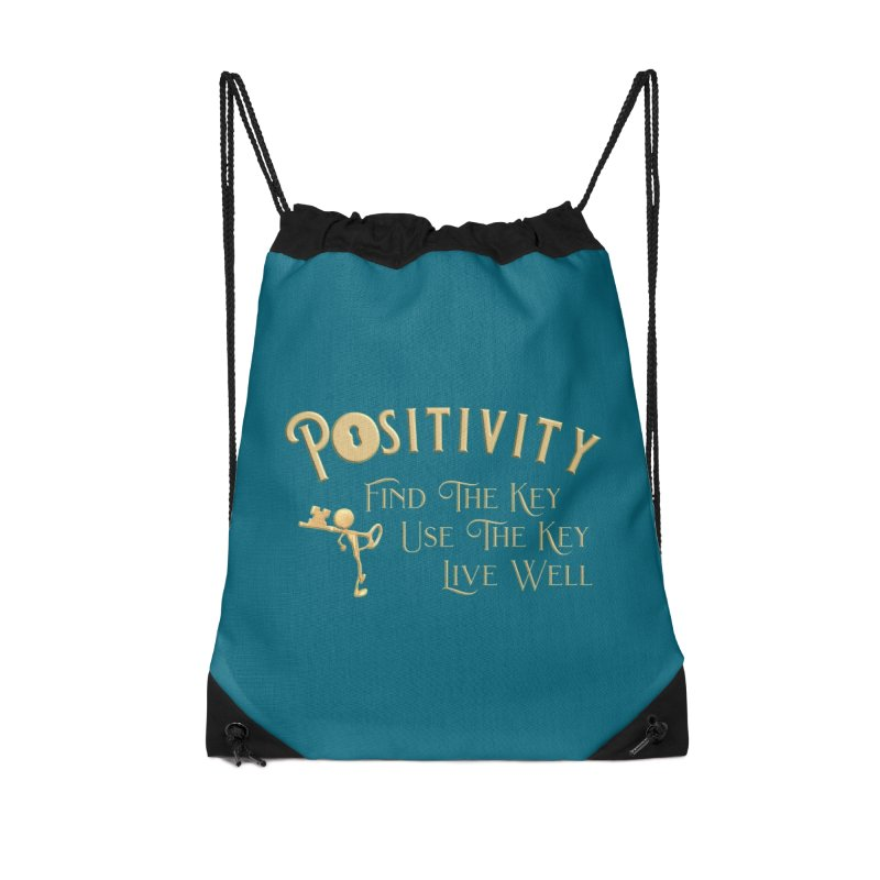 Positivity Key Shirts Accessories Drawstring Bag Bag by Leading Artist Shop
