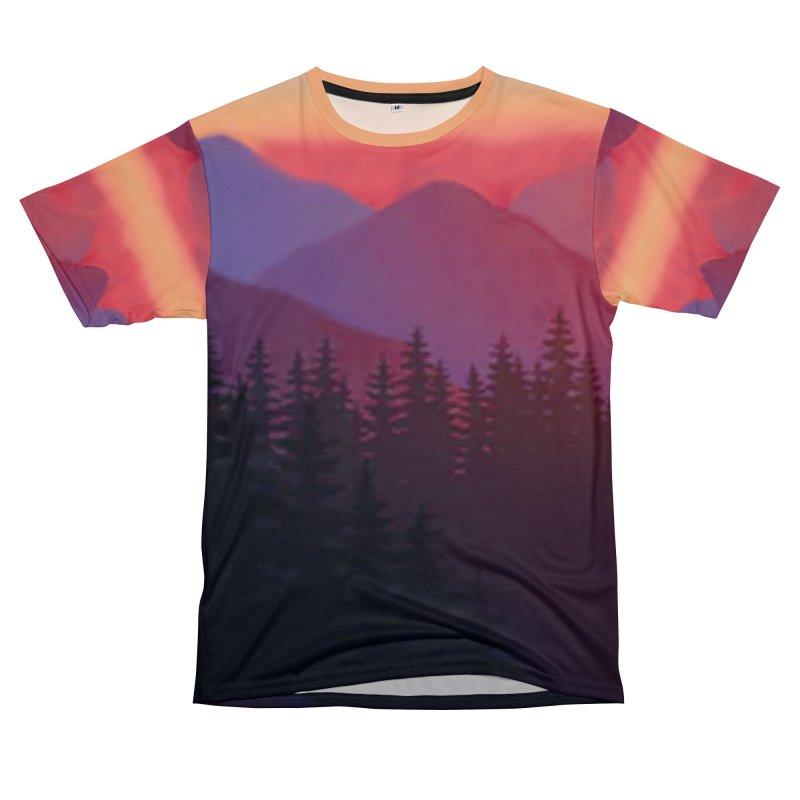 Sunset Woods Mountain Shirts Women's Unisex T-Shirt Cut & Sew by Leading Artist Shop