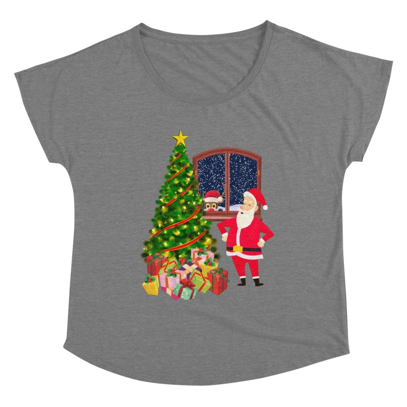 Christmas With Santa and Rudolph Women's Scoop Neck by Leading Artist Shop