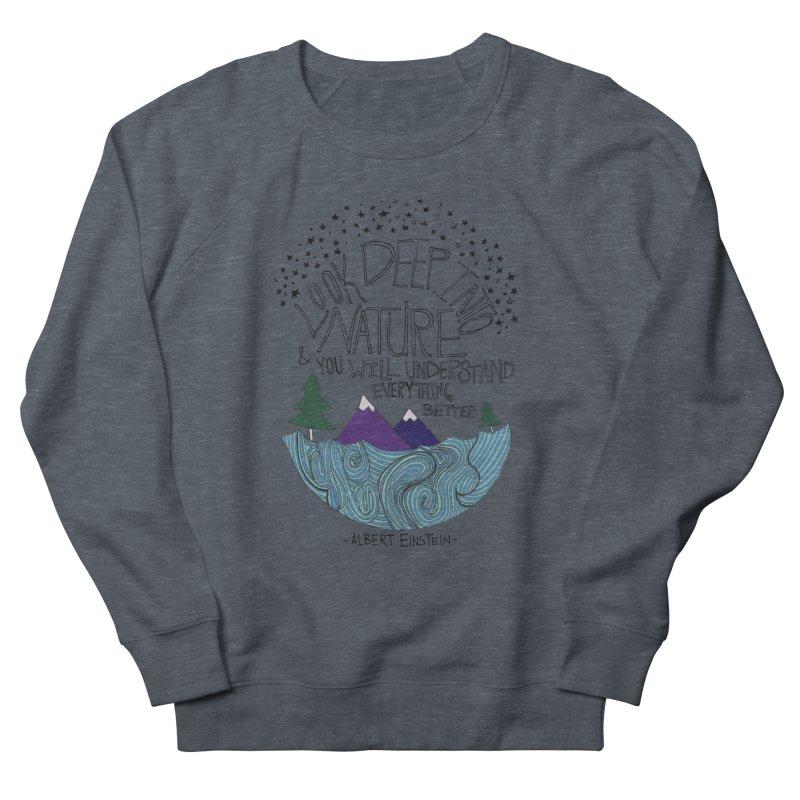 Einstein Nature Men's French Terry Sweatshirt by Leah Flores' Artist Adventureland Shop