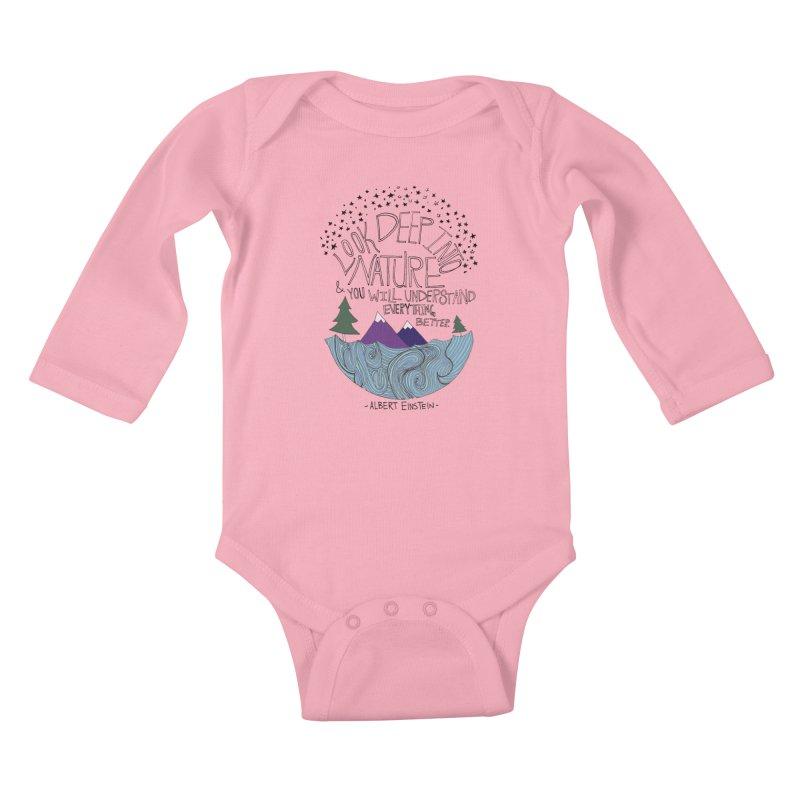 Einstein Nature Kids Baby Longsleeve Bodysuit by Leah Flores' Artist Adventureland Shop