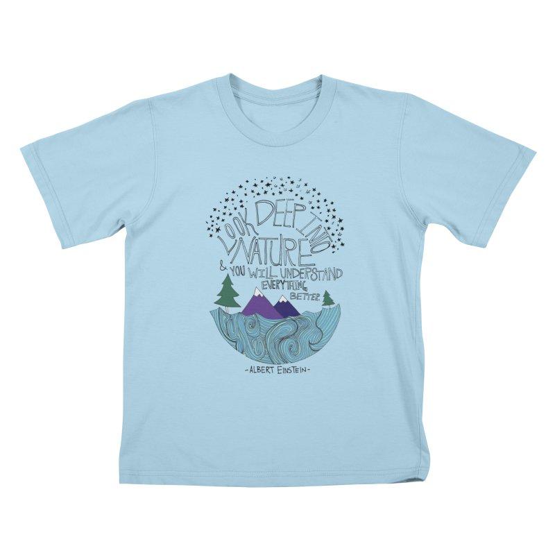 Einstein Nature Kids T-shirt by Leah Flores' Artist Adventureland Shop
