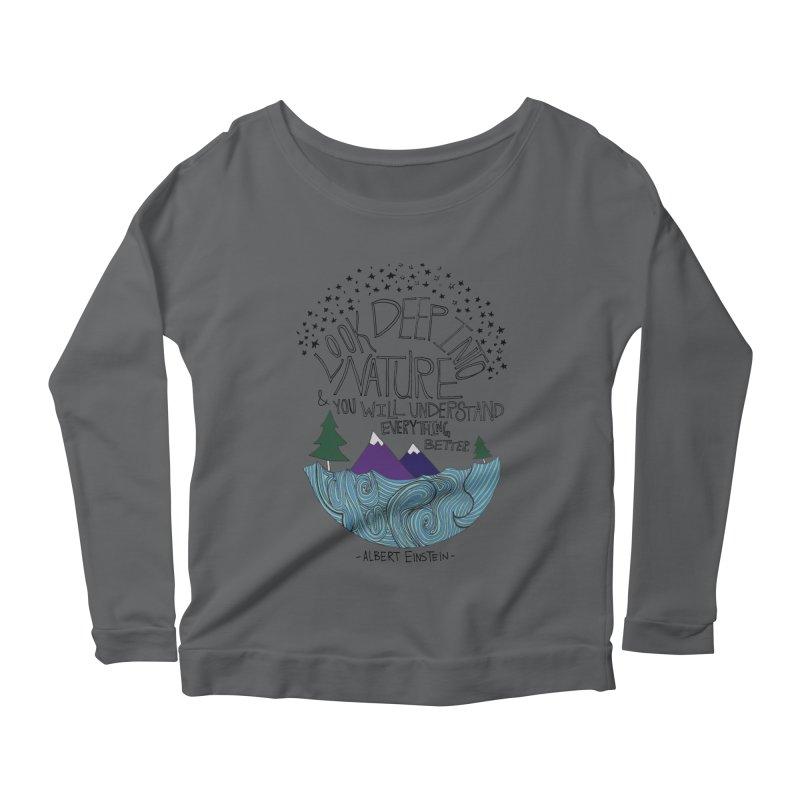 Einstein Nature Women's Scoop Neck Longsleeve T-Shirt by Leah Flores' Artist Adventureland Shop