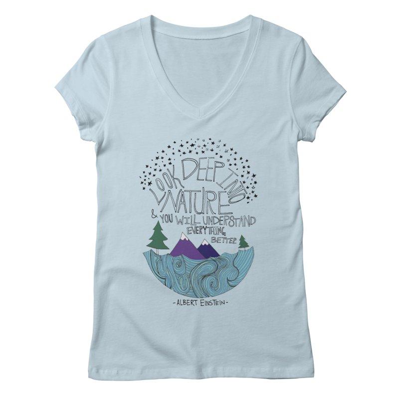 Einstein Nature Women's V-Neck by Leah Flores' Artist Adventureland Shop