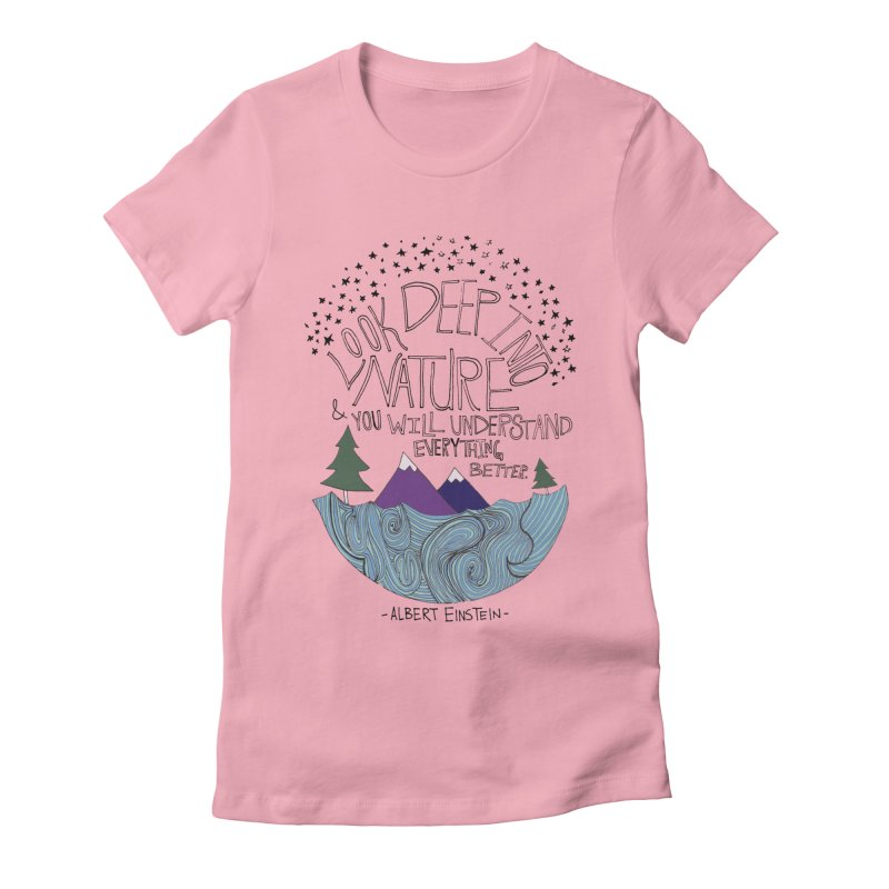 Einstein Nature Women's Fitted T-Shirt by Leah Flores' Artist Adventureland Shop