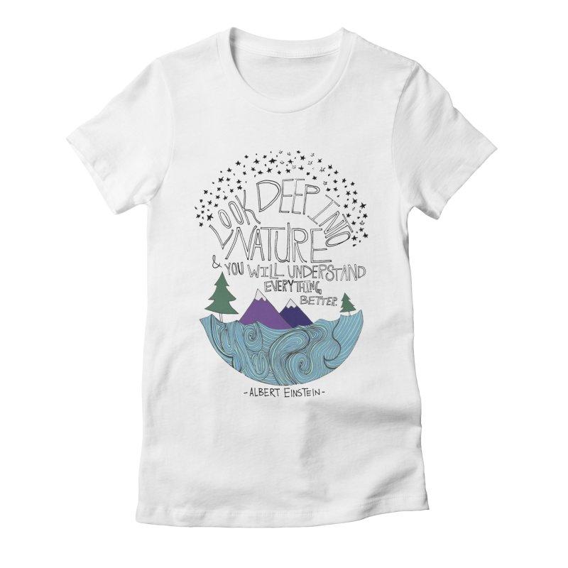 Einstein Nature Women's Fitted T-Shirt by Leah Flores' Artist Adventureland Shop