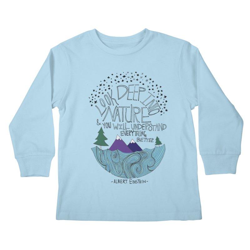 Einstein Nature Kids Longsleeve T-Shirt by Leah Flores' Artist Adventureland Shop