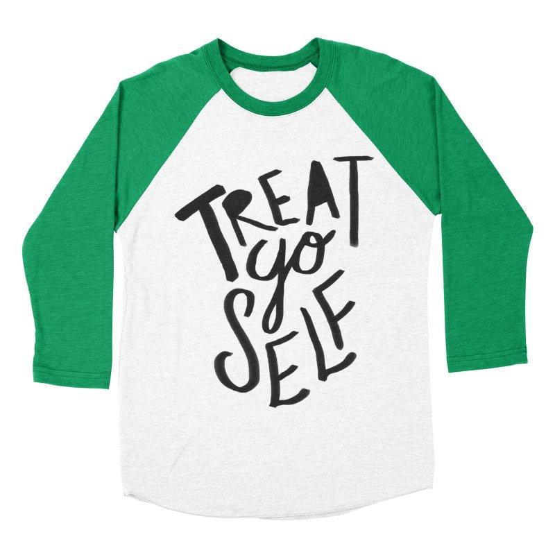 Treat Yo Self Men's Baseball Triblend Longsleeve T-Shirt by Leah Flores' Artist Adventureland Shop