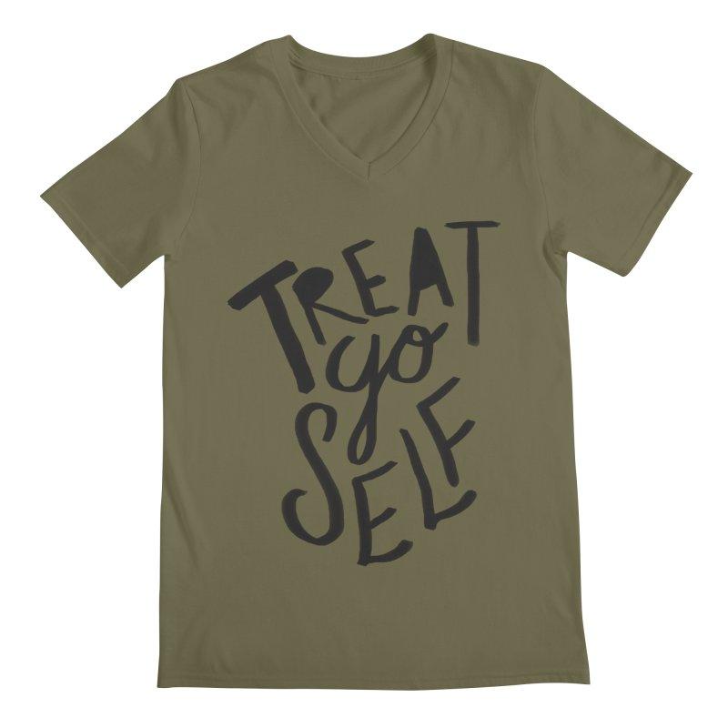 Treat Yo Self Men's Regular V-Neck by Leah Flores' Artist Adventureland Shop