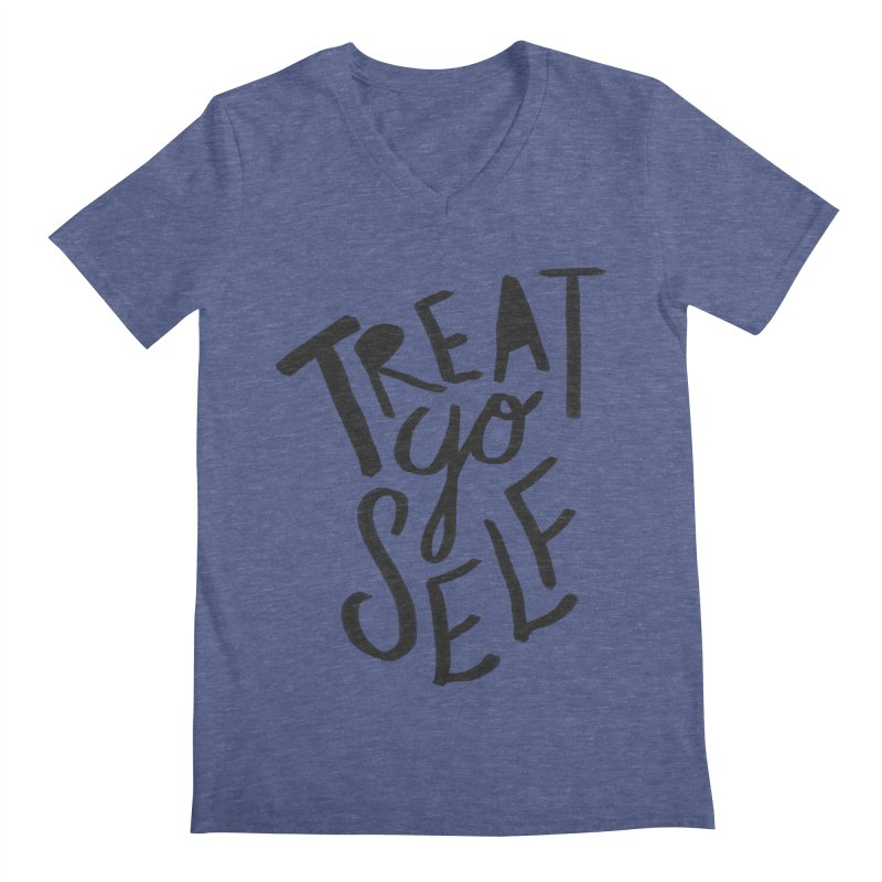 Treat Yo Self Men's V-Neck by Leah Flores' Artist Adventureland Shop