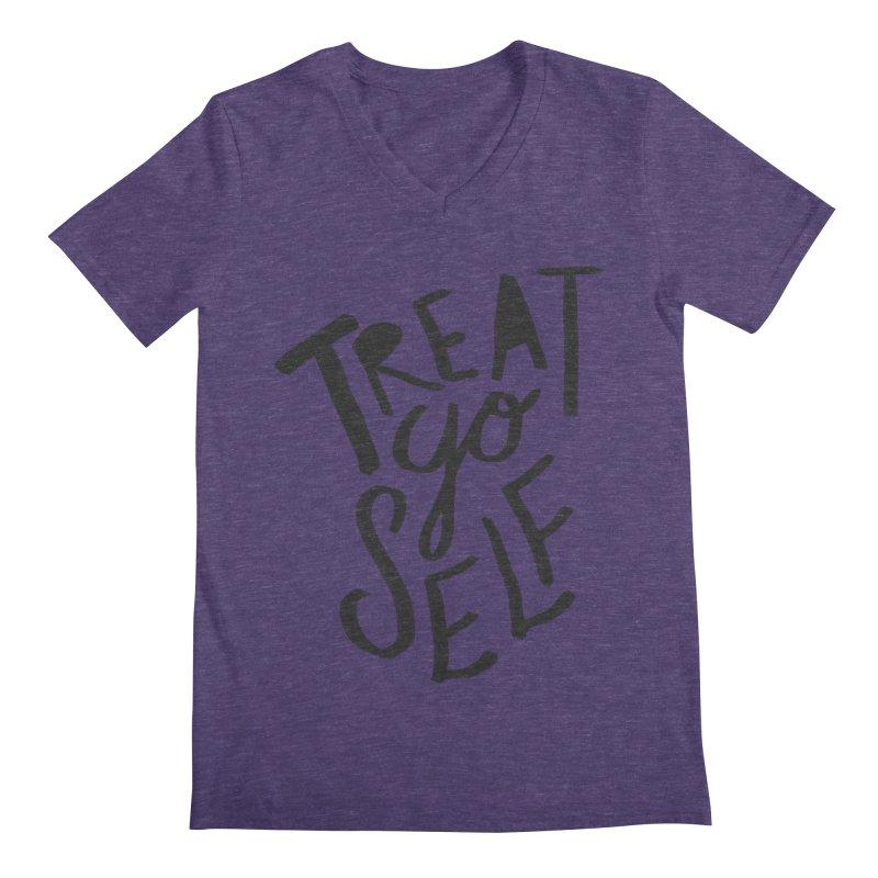 Treat Yo Self Men's V-Neck by Leah Flores' Artist Adventureland Shop
