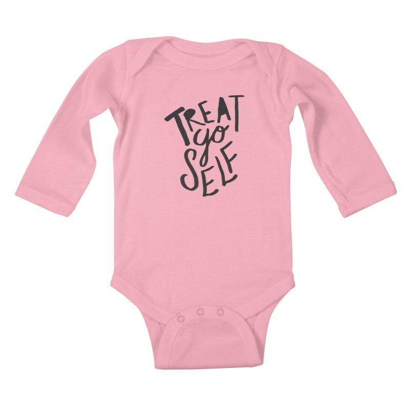 Treat Yo Self Kids Baby Longsleeve Bodysuit by Leah Flores' Artist Adventureland Shop