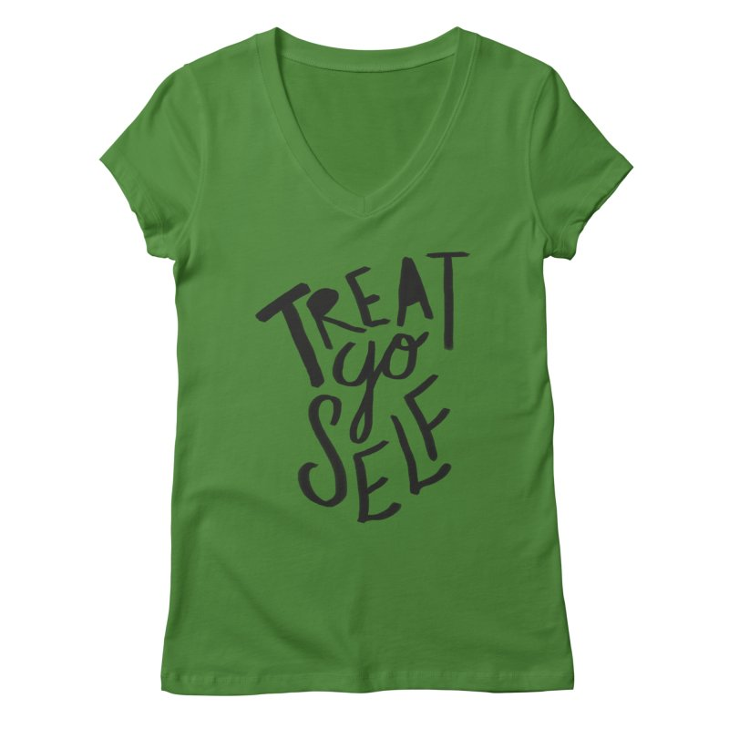 Treat Yo Self Women's Regular V-Neck by Leah Flores' Artist Adventureland Shop