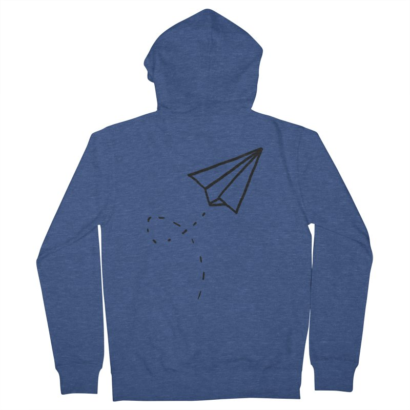 Paper Plane Men's French Terry Zip-Up Hoody by Leah Flores' Artist Adventureland Shop