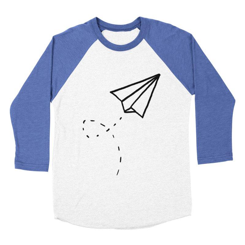 Paper Plane Women's Baseball Triblend Longsleeve T-Shirt by Leah Flores' Artist Adventureland Shop