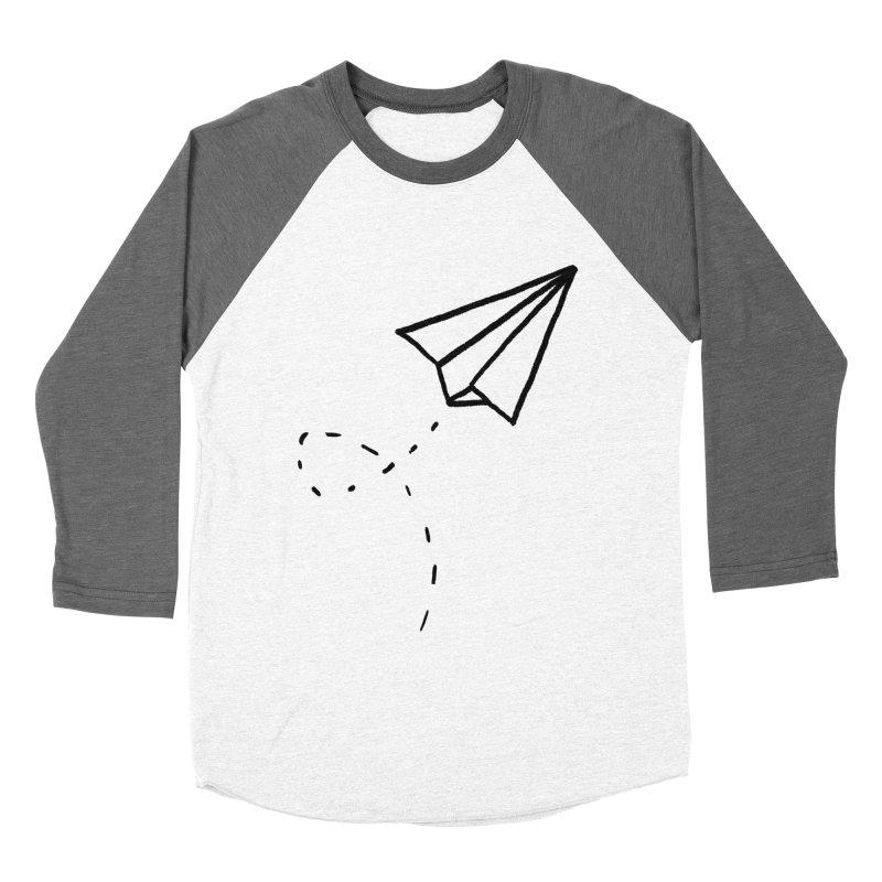 Paper Plane Women's Baseball Triblend T-Shirt by Leah Flores' Artist Adventureland Shop