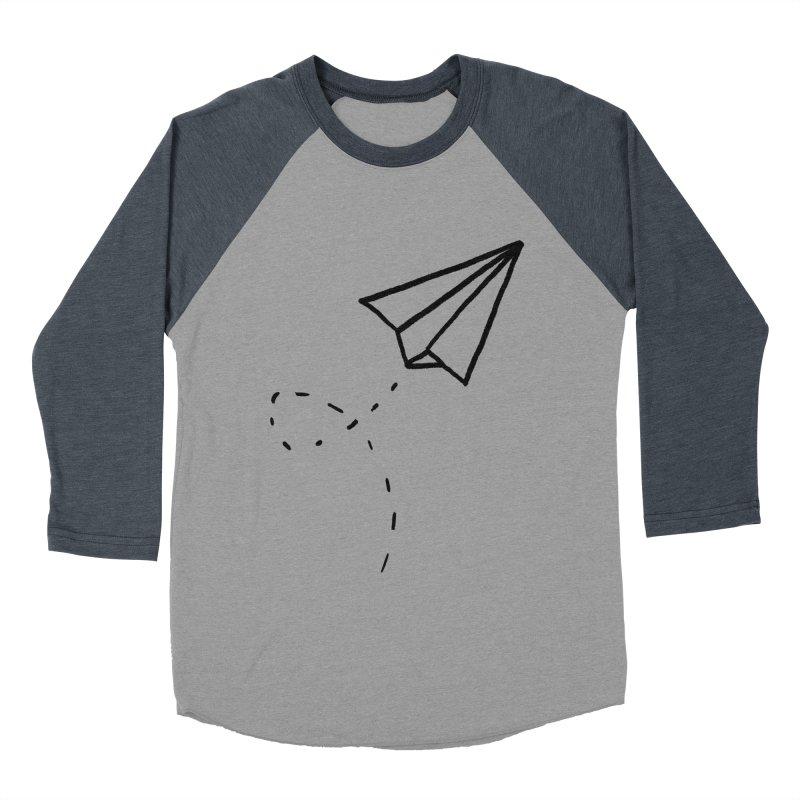Paper Plane Men's Baseball Triblend Longsleeve T-Shirt by Leah Flores' Artist Adventureland Shop