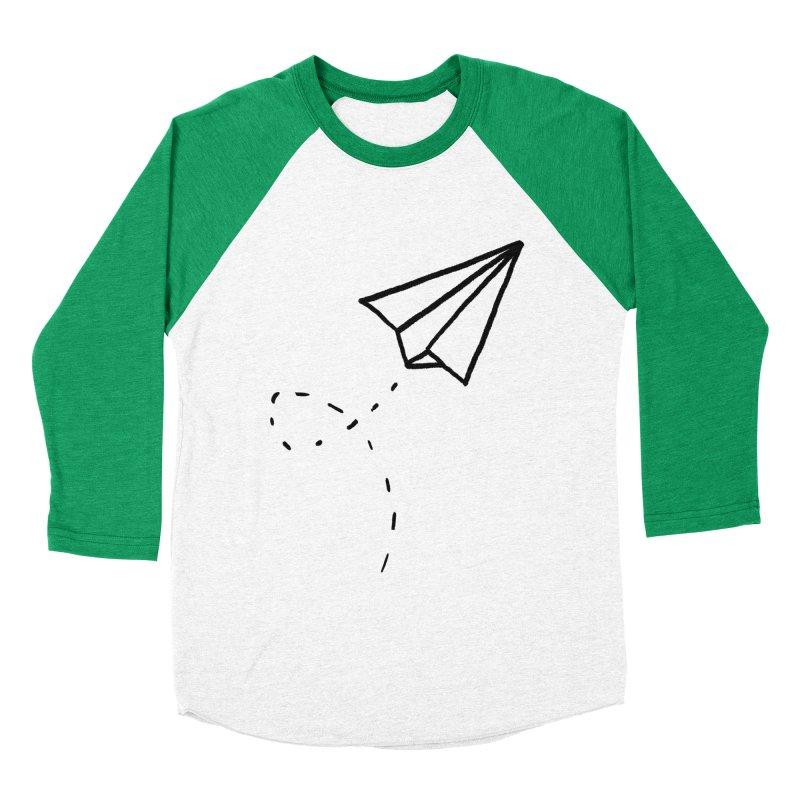 Paper Plane Men's Baseball Triblend T-Shirt by Leah Flores' Artist Adventureland Shop