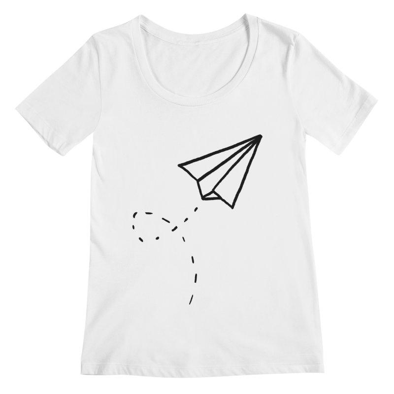 Paper Plane Women's Regular Scoop Neck by Leah Flores' Artist Adventureland Shop