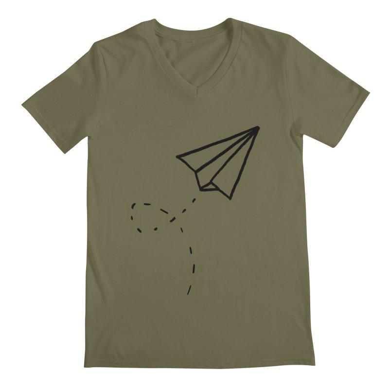 Paper Plane Men's Regular V-Neck by Leah Flores' Artist Adventureland Shop