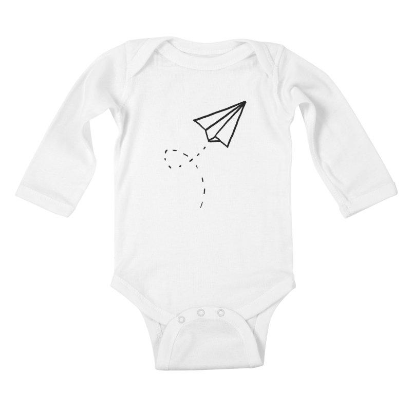 Paper Plane Kids Baby Longsleeve Bodysuit by Leah Flores' Artist Adventureland Shop