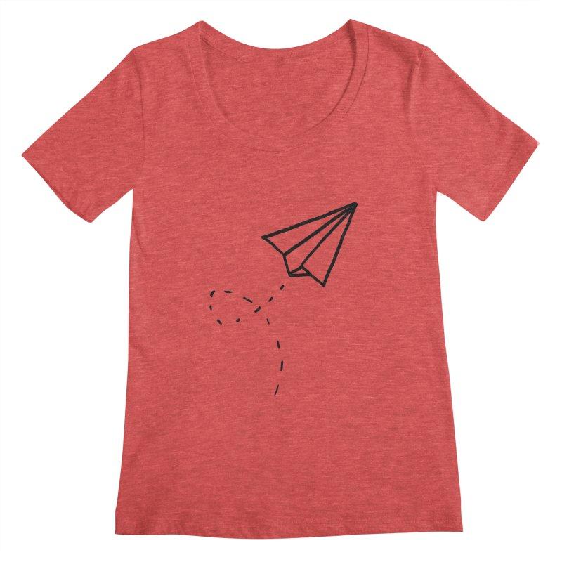 Paper Plane Women's Scoop Neck by Leah Flores' Artist Adventureland Shop