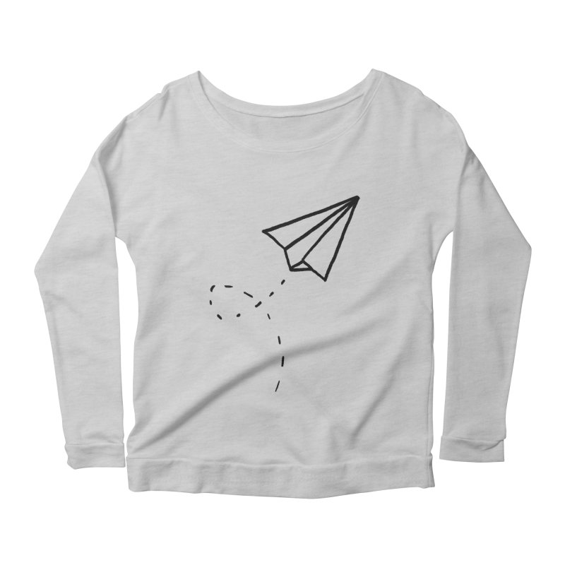 Paper Plane Women's Scoop Neck Longsleeve T-Shirt by Leah Flores' Artist Adventureland Shop