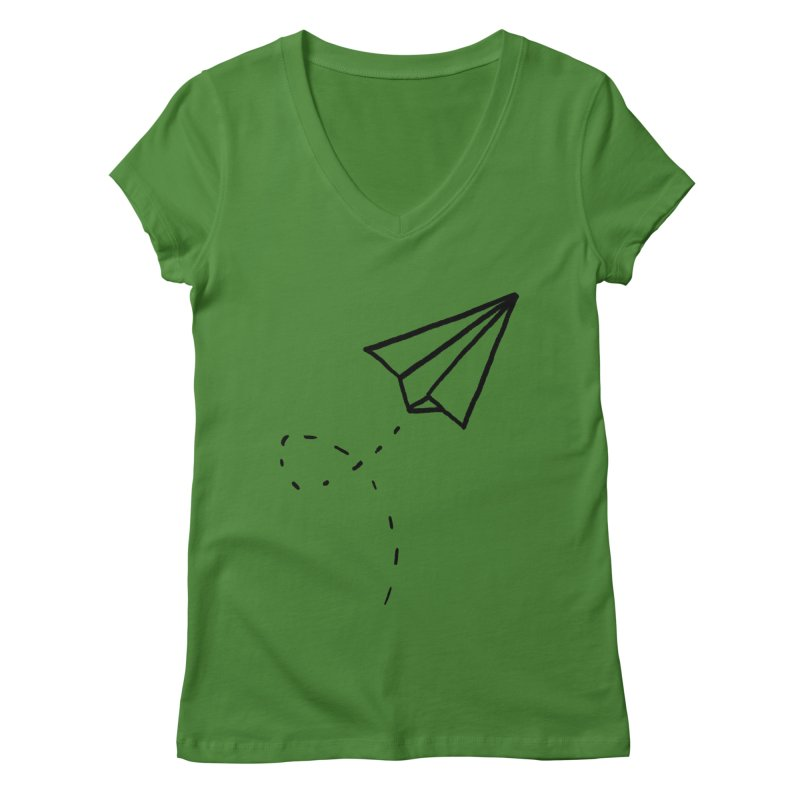 Paper Plane Women's V-Neck by Leah Flores' Artist Adventureland Shop