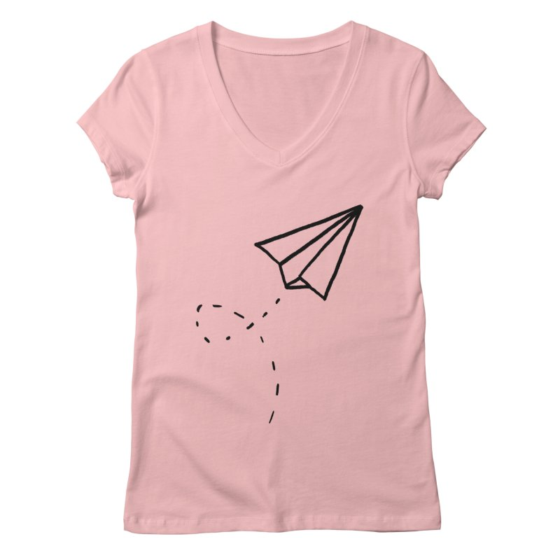 Paper Plane Women's V-Neck by Leah Flores' Artist Adventureland Shop
