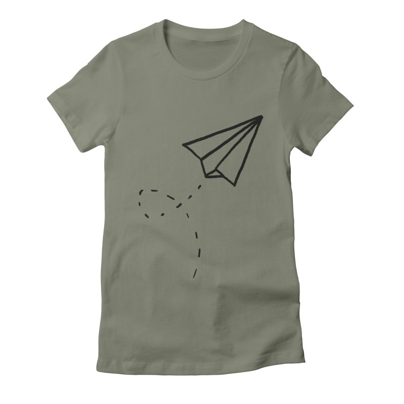 Paper Plane Women's Fitted T-Shirt by Leah Flores' Artist Adventureland Shop