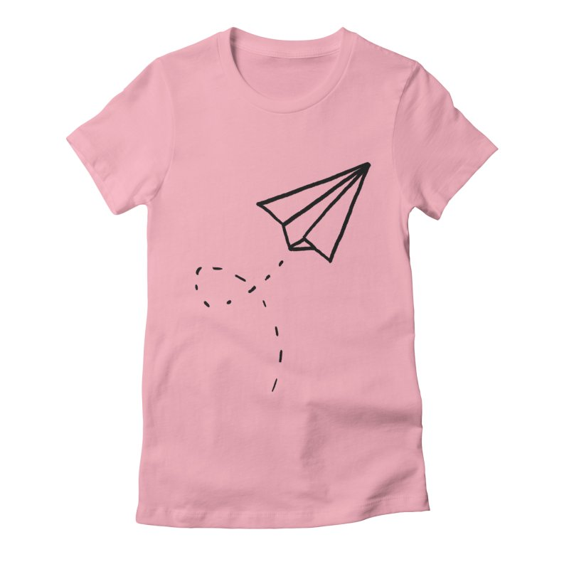 Paper Plane Women's Fitted T-Shirt by Leah Flores' Artist Adventureland Shop
