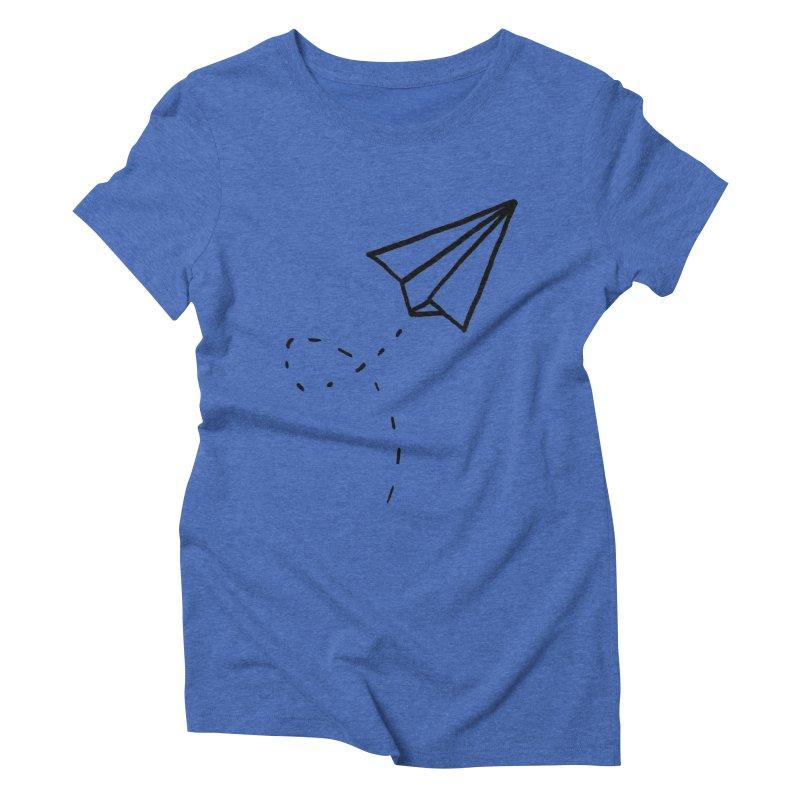 Paper Plane Women's Triblend T-Shirt by Leah Flores' Artist Adventureland Shop