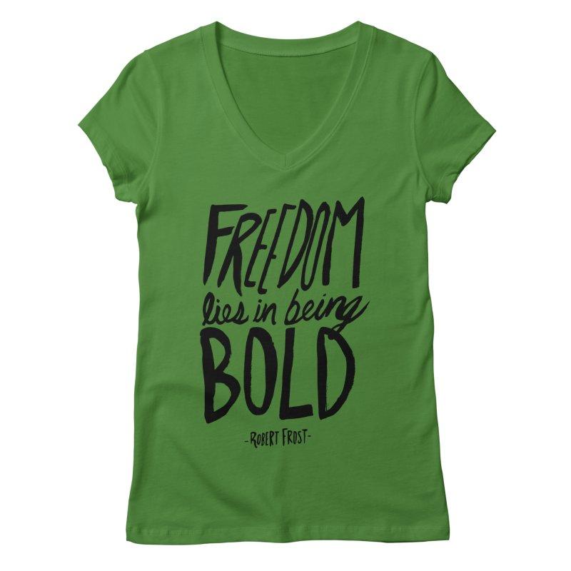 Freedom Bold Women's V-Neck by Leah Flores' Artist Adventureland Shop