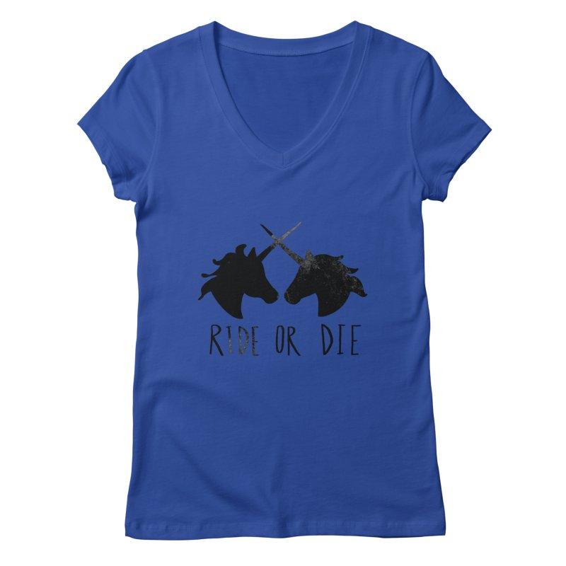Ride or Die Women's Regular V-Neck by Leah Flores' Artist Adventureland Shop