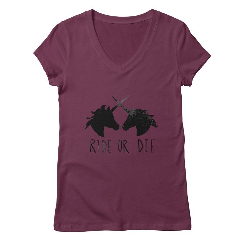 Ride or Die Women's V-Neck by Leah Flores' Artist Adventureland Shop
