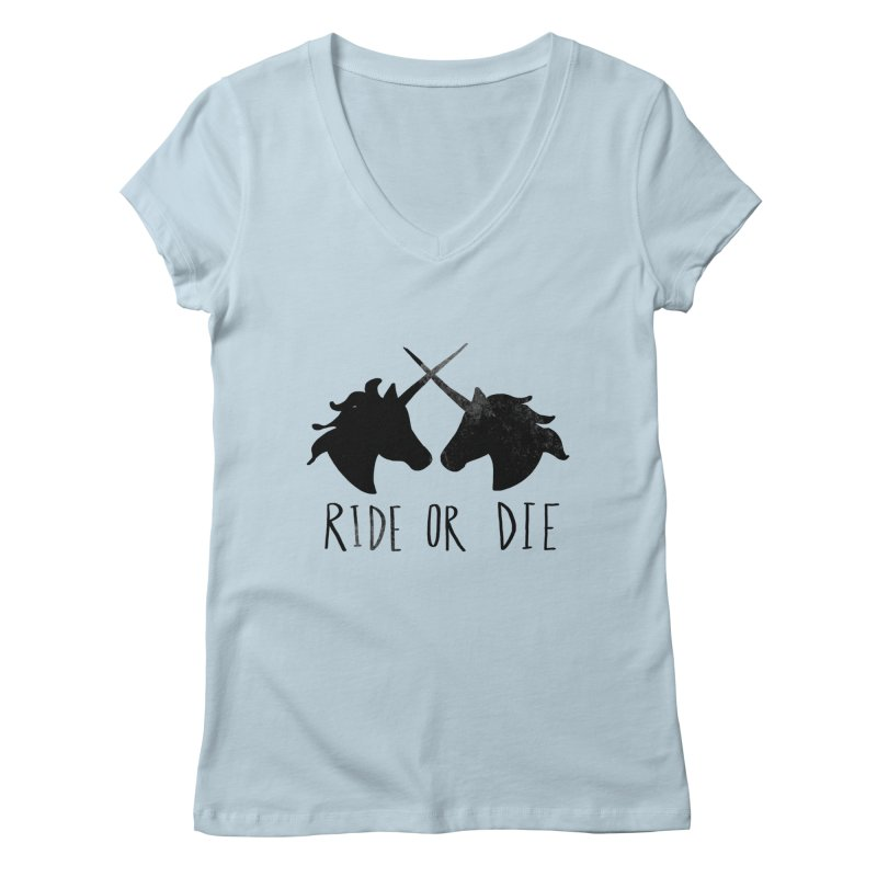 Ride or Die Women's V-Neck by Leah Flores' Artist Adventureland Shop
