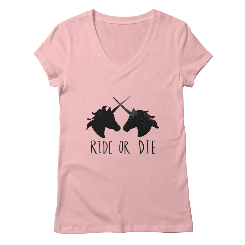 Ride or Die Women's Regular V-Neck by Leah Flores' Artist Adventureland Shop