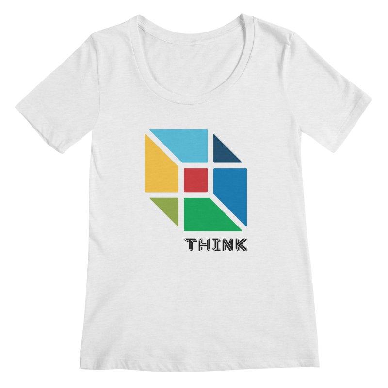 Think Outside Box, C2 Women's Scoopneck by learnthebrand's Artist Shop