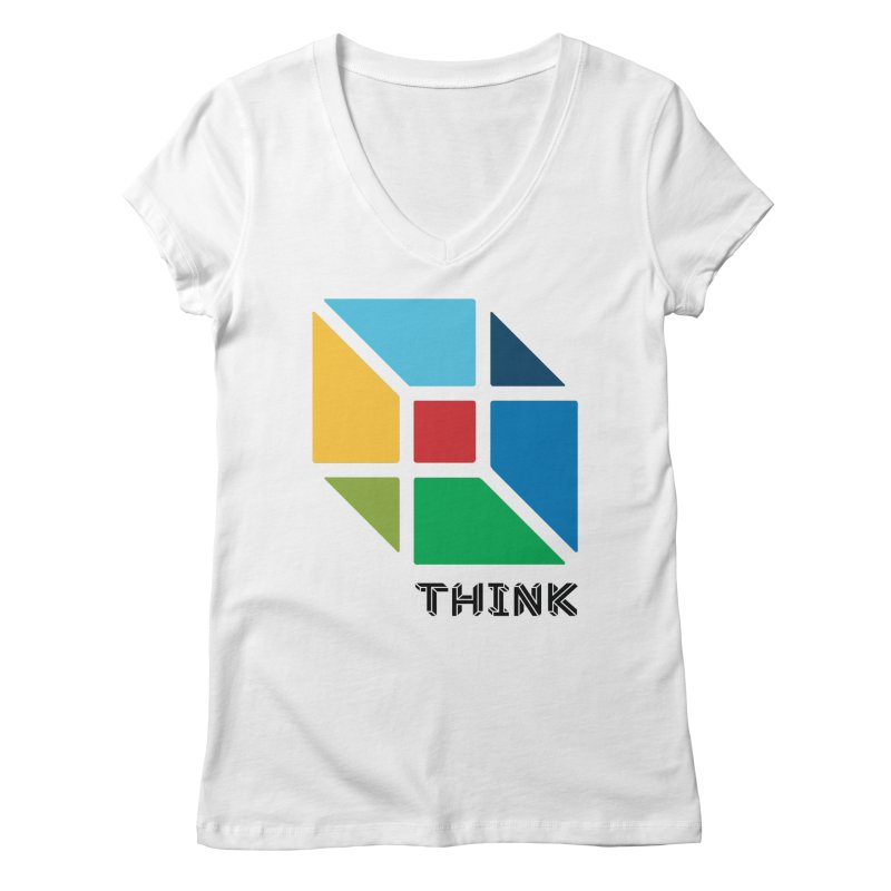 Think Outside Box, C2 Women's V-Neck by learnthebrand's Artist Shop