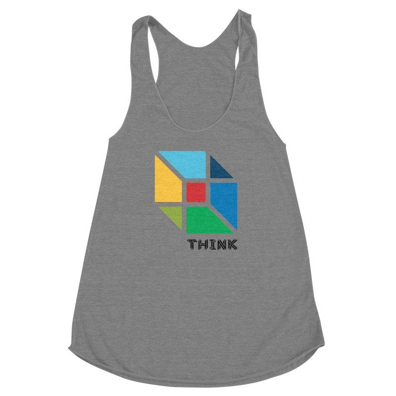 Think Outside Box, C2 Women's Racerback Triblend Tank by learnthebrand's Artist Shop