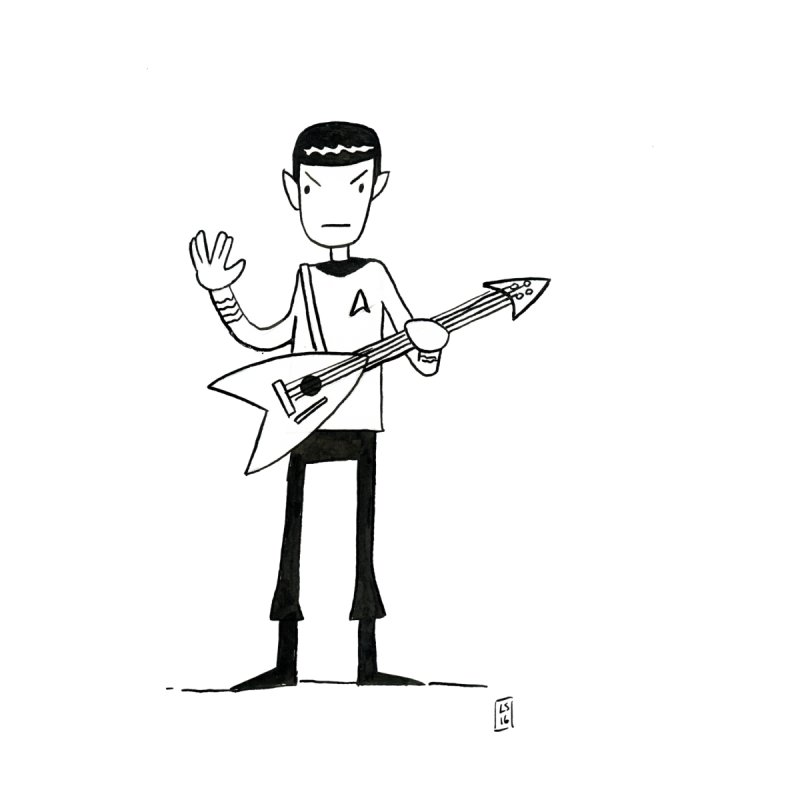Spock Rocks Women's Fitted T-Shirt by Lee Draws Stuff
