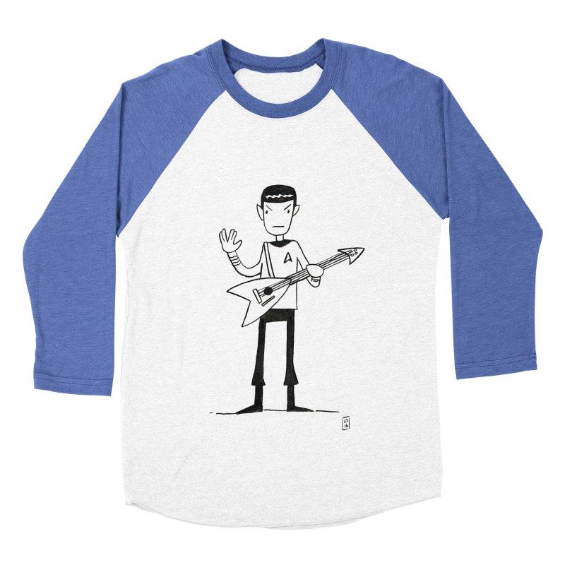 Spock Rocks Men's Baseball Triblend T-Shirt by Lee Draws Stuff