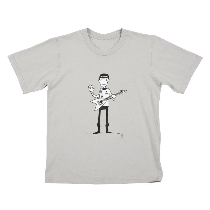 Spock Rocks Kids T-Shirt by Lee Draws Stuff