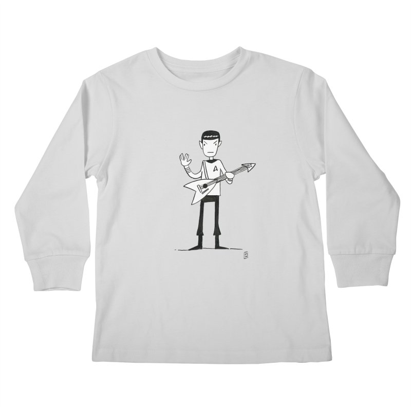 Spock Rocks Kids Longsleeve T-Shirt by Lee Draws Stuff