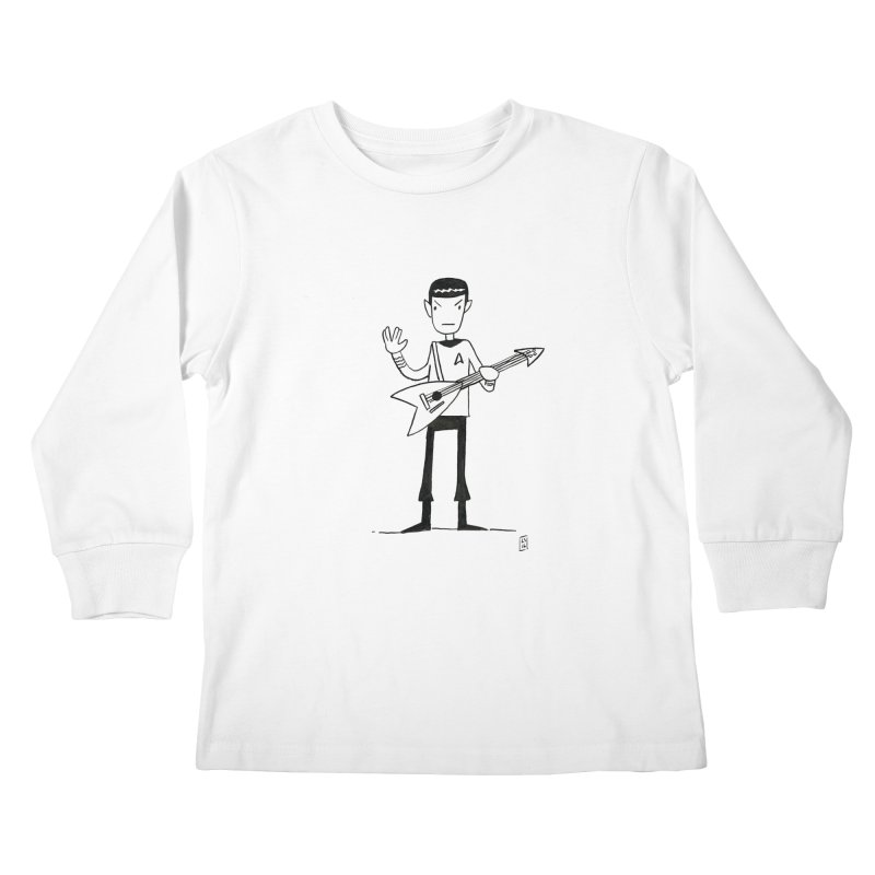 Spock Rocks Kids Longsleeve T-Shirt by Lee Draws Stuff