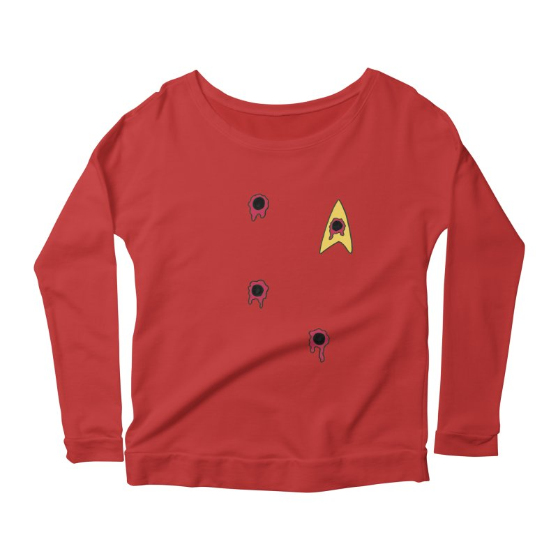 Red Shirt Human Women's Longsleeve Scoopneck  by Lee Draws Stuff