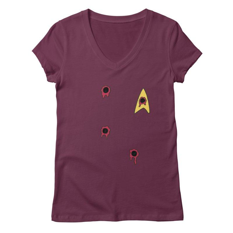 Red Shirt Human Women's V-Neck by Lee Draws Stuff